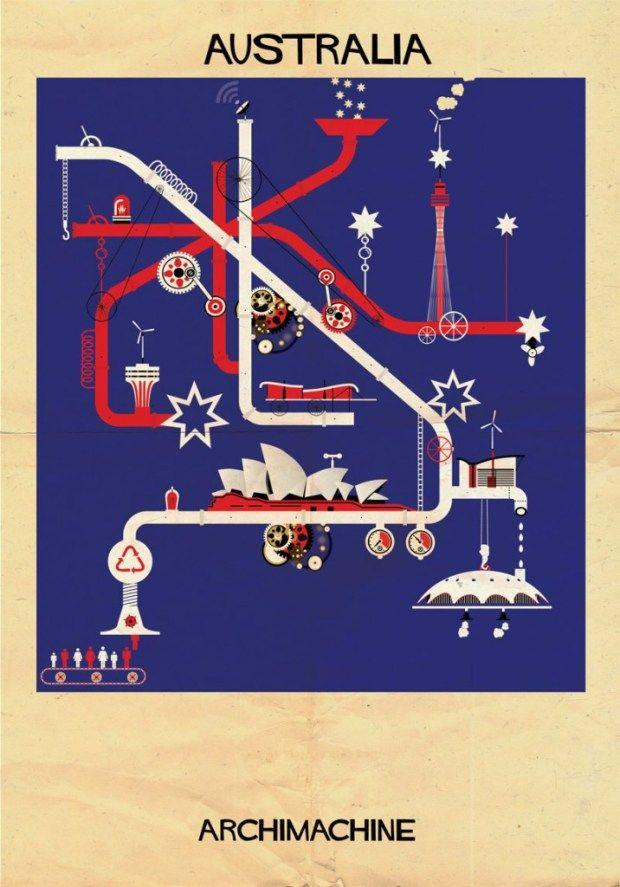 Image : ARCHIMACHINE : larchitecture comme fondement de lidentité culturelleL'artiste Federico Babina vient de dévoiler sa dernière série d'illustrations, baptisée ARCHIMACHINE et mettant en scène 17 pays sous la forme de machines architecturales