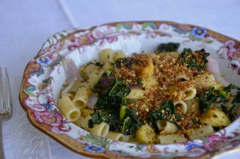 occhi di lupo with tuscan kale and roasted parsnips -- can easily substitute ingredients to make gluten free