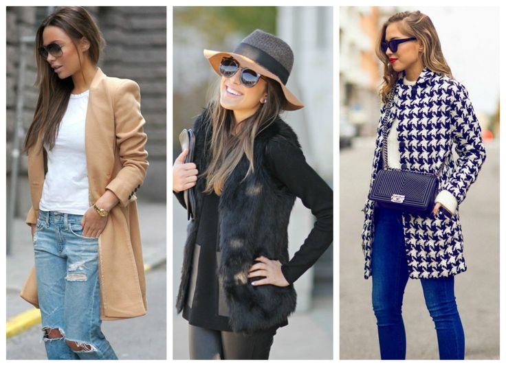 Find your own sense of style >>> http://bit.ly/1ENKONX Camel coat with ribbed jeans, hat, black fur, blue coat.