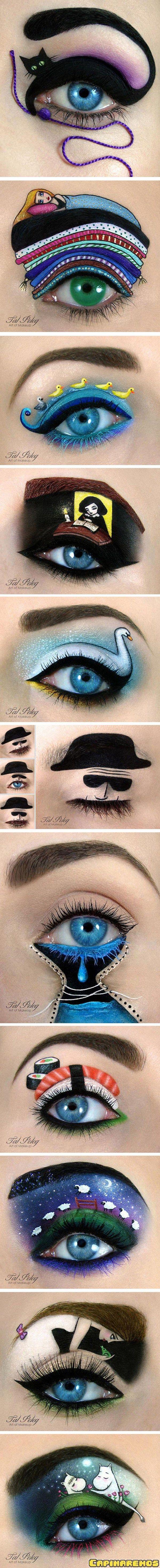 Fazendo arte com maquiagem.