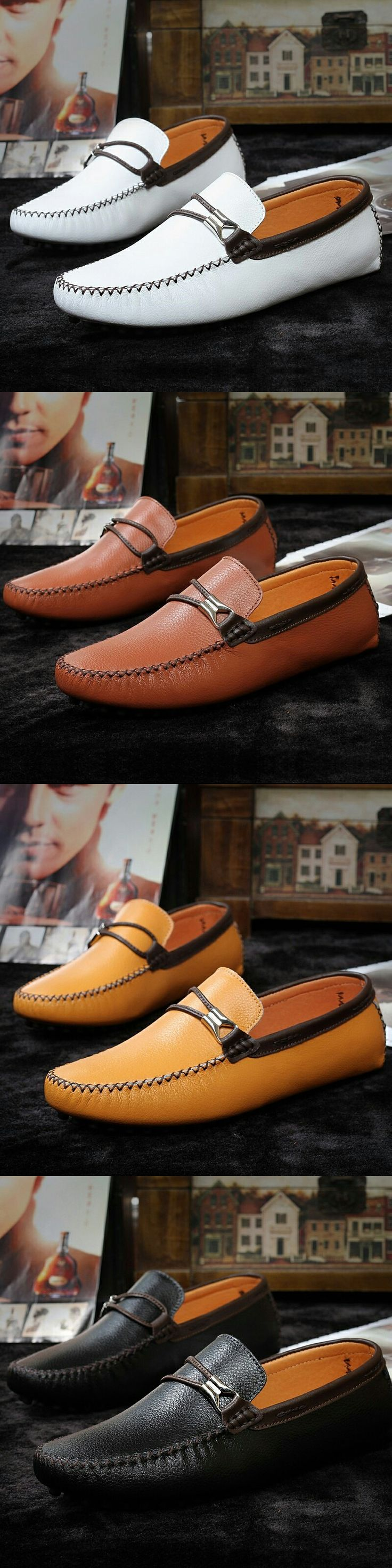 US $25 <Click to buy> Prelesty Gorgeous Luxury Leather Boat Shoes Mens Top Sider Driving Shoes