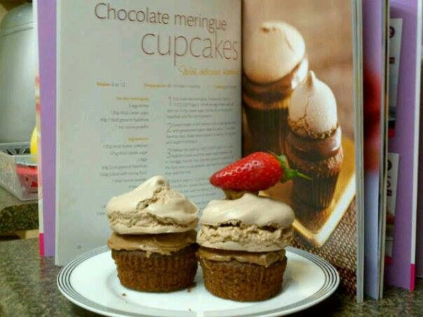 Chocolate cup cakes with chocolate merengue topping.