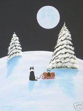 BORDER COLLIE Dog SNOW Folk Art PRINT Todd Young