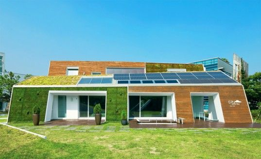 E+ green roofed & solar powered house in south korea