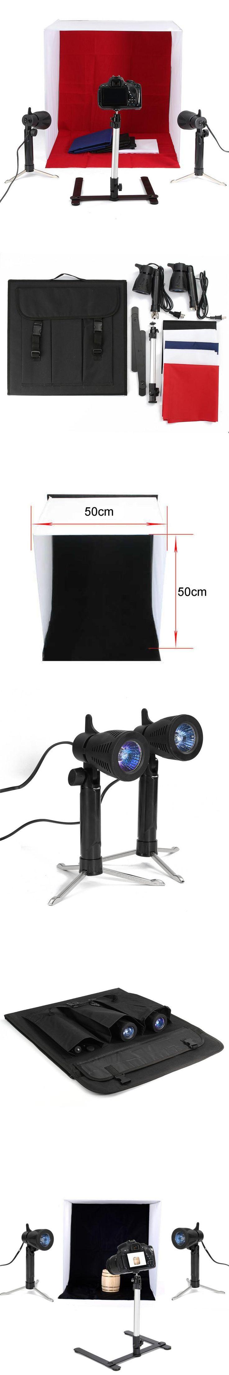 50x50CM Room Photo Studio Light Photography Lighting Tent Kit Backdrop Cube Box AC 110V-220V Photography Lighting Kit