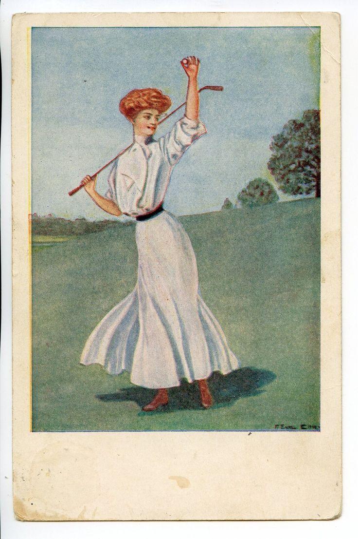 1909 Earl Christy Victorian Woman Golf Golfing Club Vintage Postcard - 1.1