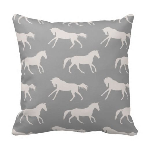 Equestrian Throw Pillow for the living room or bedroom home decor! Horse style for the hunter jumper or dressage rider! Has gray galloping horses in a chic pattern all over.