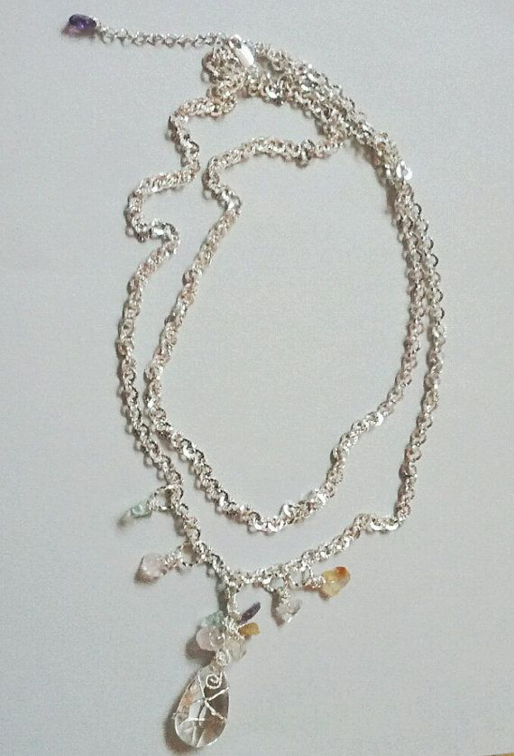 Crystal Teardrop Necklace by Girlscode on Etsy, $22.25
