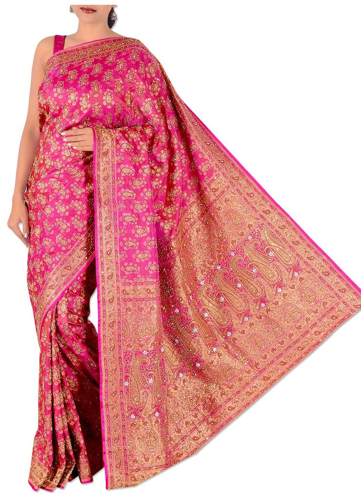 Home > Magenta Pure Silk Bridal Banarasi Saree picture