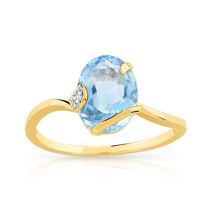 Bague or 375 2 tons topaze bleue traitée et diamant - vue 1