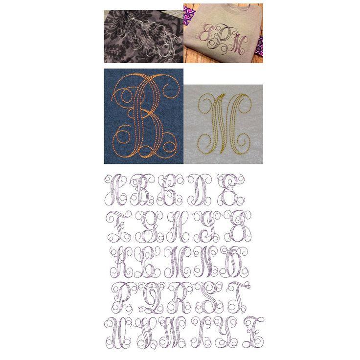 Machine Embroidery Bean Stitch Interlaced Monogram