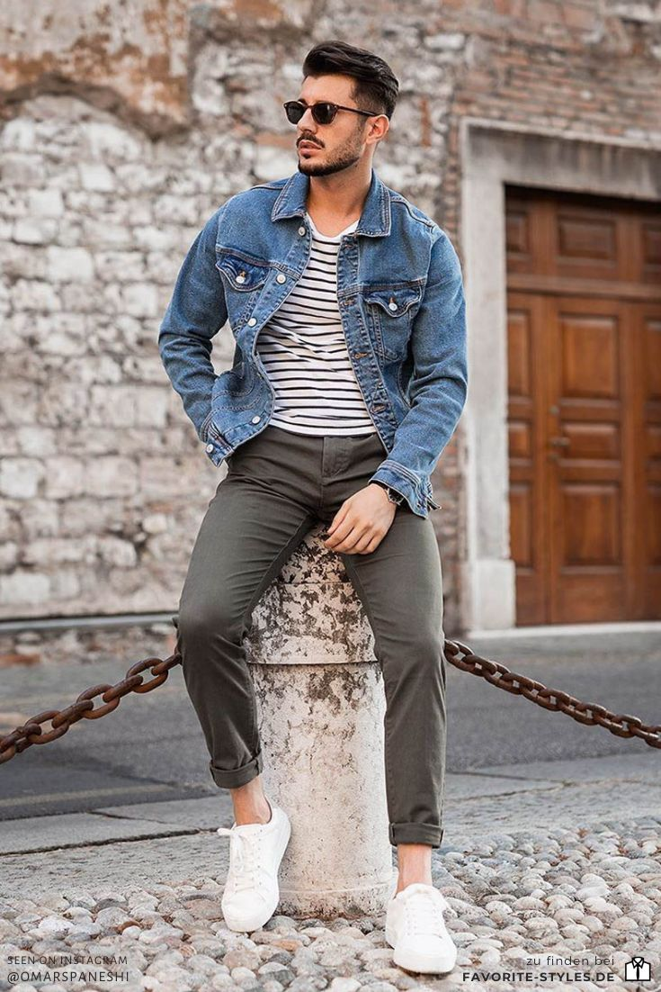 Casual Sommer Outfit mit Jeansjacke   Moda masculina, Moda