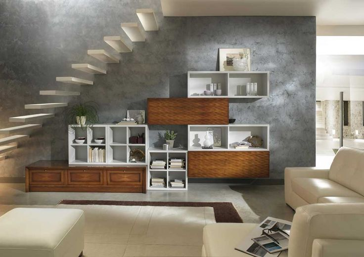 staircase ideas living room with modern stairs above wooden cabinet ideas on the wall and white leather sofa and benches table on white rug