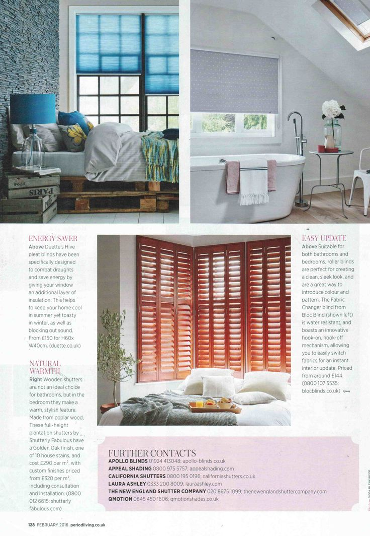 Check out Bloc's latest products in the Feb 2016 issue of Period Living Magazine featuring our new #Fabricchanger #Swap #Blinds #Windows #Bathroom