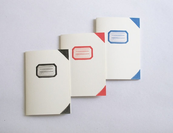 Fake old school notebooks  Set of 3 by 10antemeridiem on Etsy, $14.00