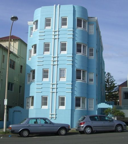 Art Deco blue building