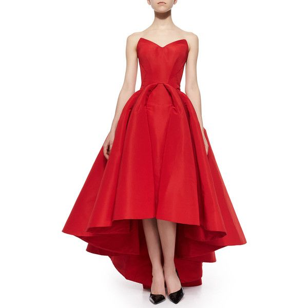 Zac Posen Strapless Cat-Ear-Bodice High-Low Gown (€8.465) found on Polyvore featuring dresses, gowns, vestidos, grenadine, strapless ball gown, strapless evening gown, strapless gown, strapless dress and red evening dresses