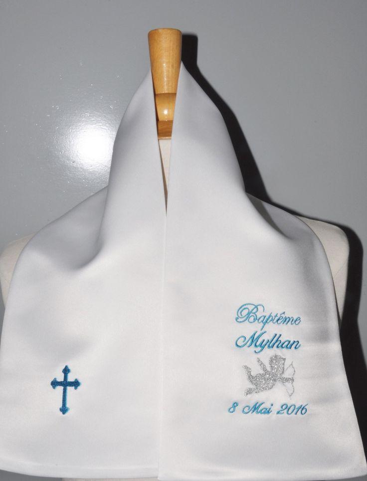 écharpe de baptême bébé ange+croix 2 couleurspersonnalisée brodée pour garçon ou fille : Mode Bébé par lbm-creation
