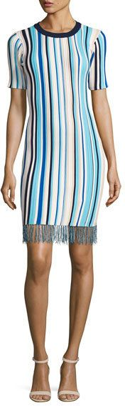 Milly Vertical Striped Short-Sleeve Dress with Fringe