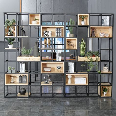 Industrial wind solid wood shelf partition porch wrought iron screen shelf home simple office partition bookcase