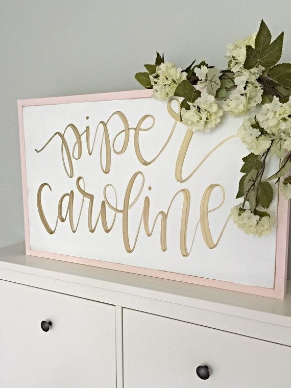Girl Nursery Sign Hand Painted Calligraphy by SalvagedChicMarket
