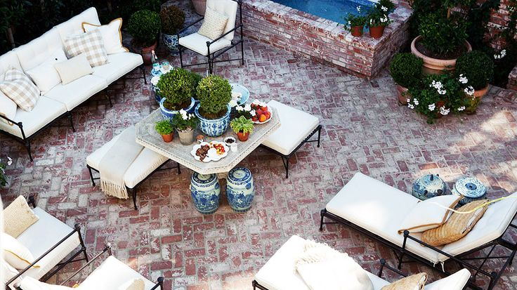 The Best Style Lessons 12 Top Designers Learned From Mom // Mother's Day, Mark D. Sikes, patio by @Mark D Sikes: Living Area, Patios Perfect, Outdoor Lounges, Herringbone Patios, Bricks Pavers, Bricks Patios, Bricks Herringbone, Outdoor Design, Outdoor Living Patios