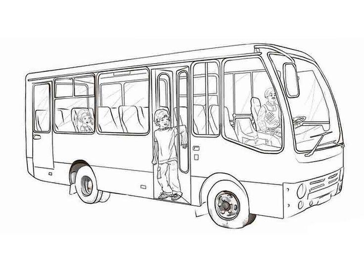 Автобус раскраска для детей, распечатать картинки с ...
