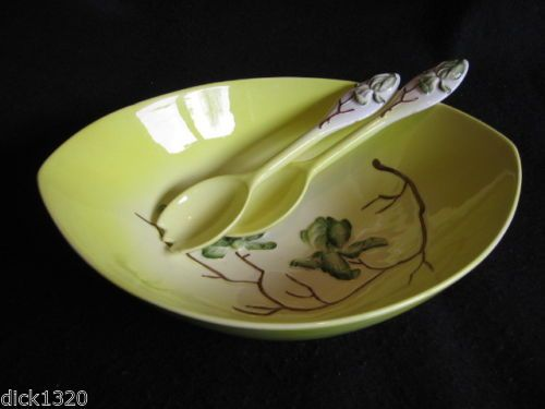CARLTON WARE 'MAGNOLIA' in YELLOW/GREEN SALAD BOWL/SERVERS #2595 1960's