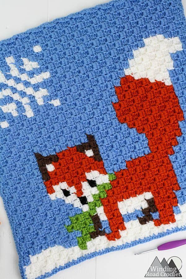 Winter Fox C2c Square Graph Kerstideeën Pinterest Breien