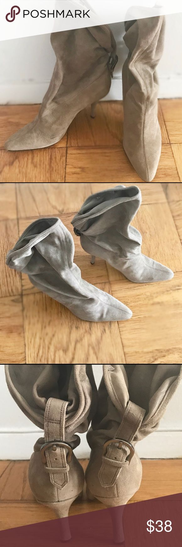 Genuine suede booties by Nine West. These adorable beige/cream colored booties are up for grabs!  Slouchy top, genuine suede, roughly 2 inch skinny heel.  May have been worn once, indoors (bottoms are squeaky clean as you can see!).  Perfect condition. Nine West Shoes Ankle Boots & Booties