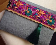 Brown Ethnic Clutch Brown Jute Handmade Handbag by BOHOCHICBYDAMLA