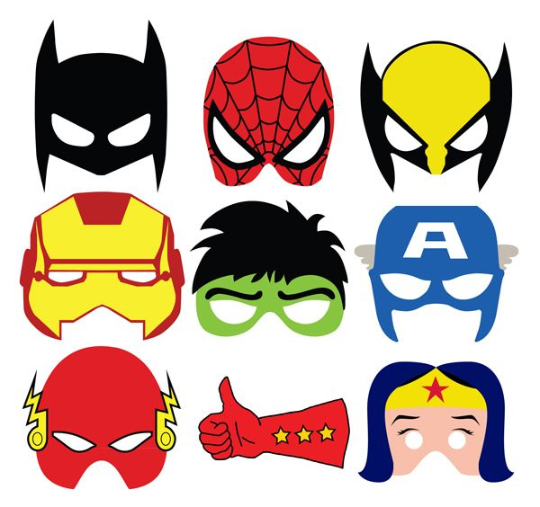 super cute masks for photo booth or goodie bags. Mascaras para imprimir superheroes More
