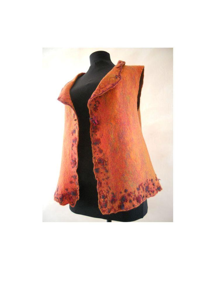 Felt multicolored vest, Felt finest merino wool vest, Felted sleeveless garment, Machine embroidered, OOAK by BuriFelt on Etsy