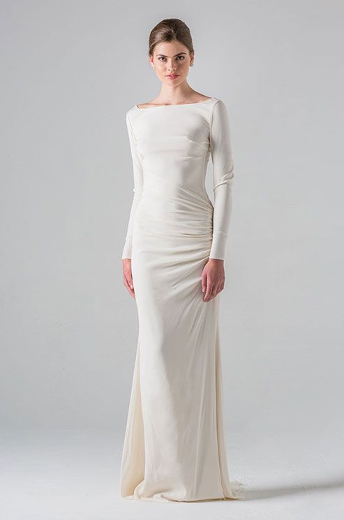 Long Sleeve Draped Column Gown With Bateau Neckline And