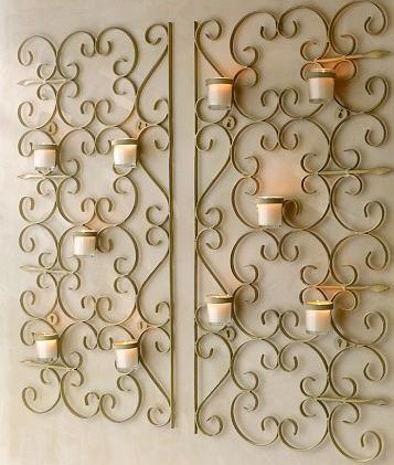 iron gate wall mounted candle holder from pottery barn