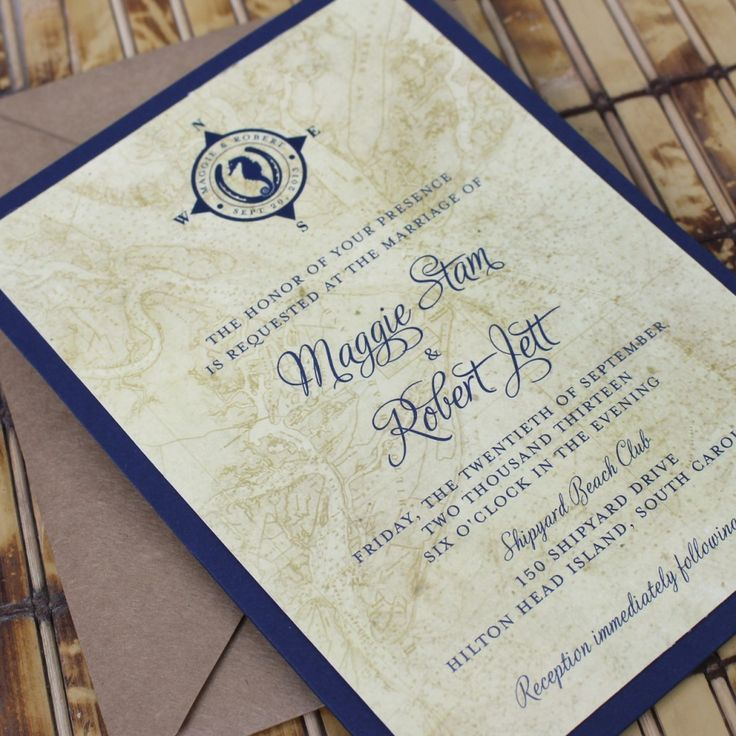 wedding invitations map%0A Vintage Map and Lucky Seahorse Wedding Invitation  Pocket Card   Design Fee