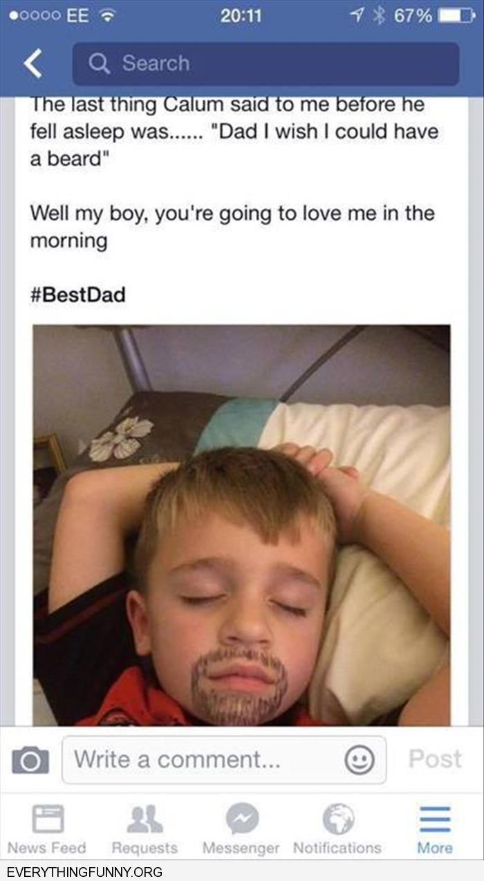 Funny Facebook Status Kid Told Dad He Wanted A Beard Dad Draws Beard On Face While