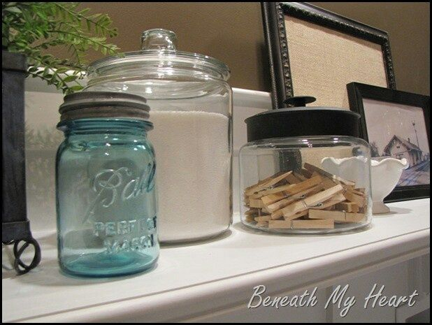 Decorating laundry room ideas laundry room containers for Room decor mason jars