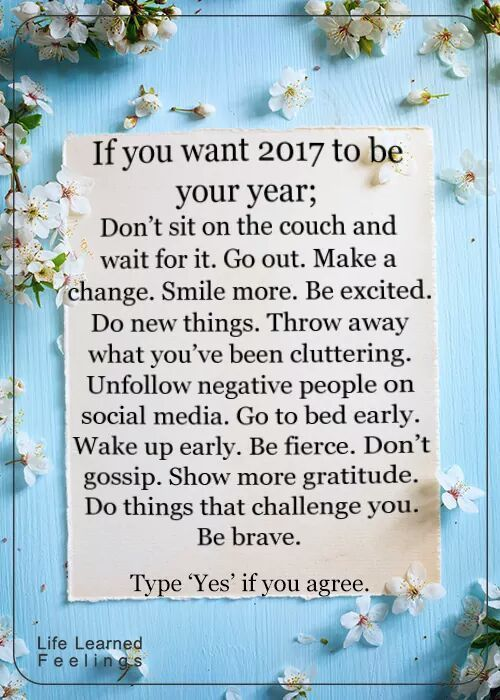 If you want 2017 to be your year