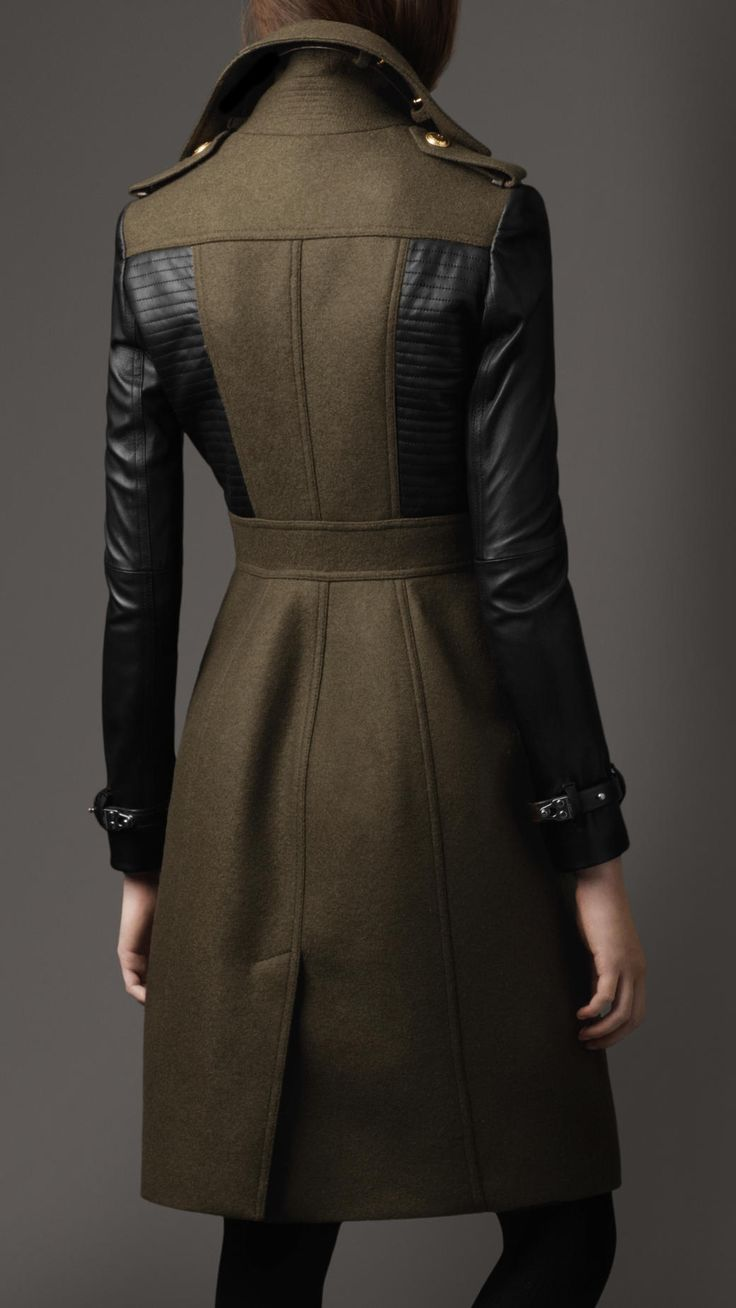 Burberry Leather Sleeve Coat 38405331 - iLUXdb.com Realtime Luxury Product Database