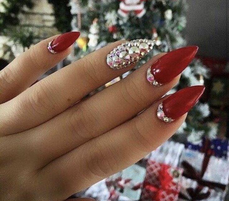 Red almond diamanté acrylic prom nails – Prom