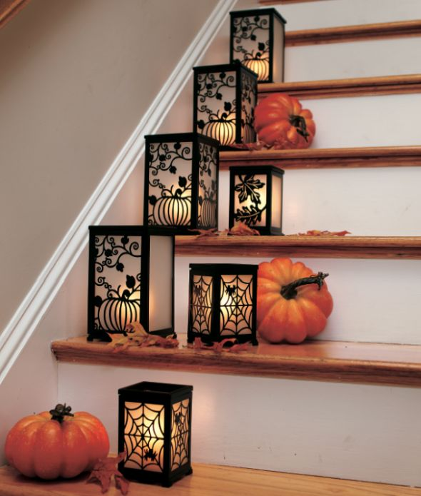 Easy Halloween Staircase Decorating.  Love the designs on the lanterns.  I bought a few lanterns with a Halloween.  Great for Halloween!