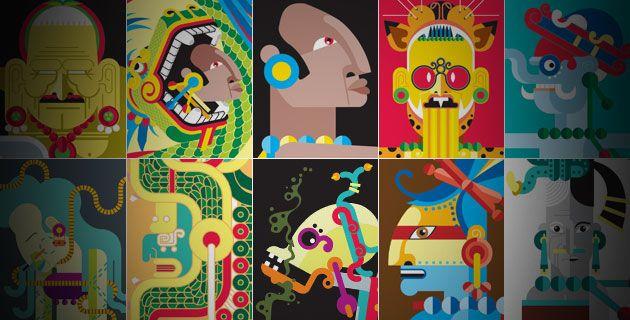 """Los dioses del Mundo Maya Foto; México desconocido/ Ilustraciones; Oldemar: Basados en esculturas, relieves y códices de tradición prehispánica, nuestros expertos han diseñado una """"nueva imagen"""" para diez de los principales dioses del panteón maya."""