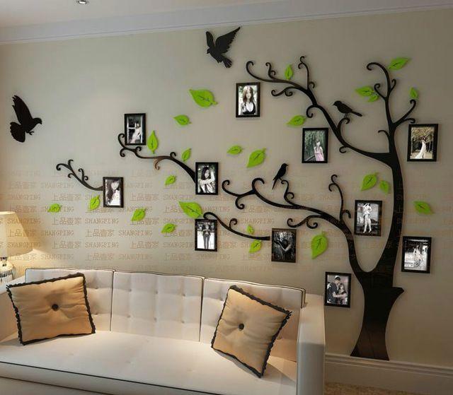 Бесплатная доставка фоторамка дерево Кристалл акриловые трехмерные стикеры стены диван ТВ фон стены стикеры