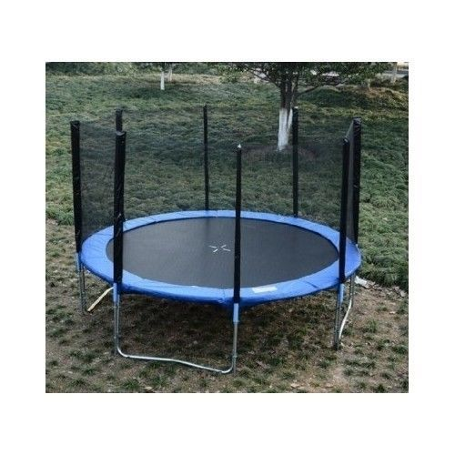 Trampoline Safety Net 14' Enclosure Netting Fence Round Poles Replacement Mesh