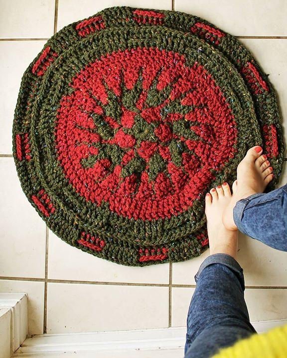 Handmade crochet mandala rug. Cozy cozy cozy!!