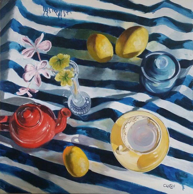 """Morning Tea Shadows"" by Susan Curtin Art 76 x 76cm oil on canvas. www.facebook.com/susancurtinart Instagram: dragonfly77w #art #australianart #australianartist #artist #oil #painting #stilllife #stilllifepainting #oilpainting"
