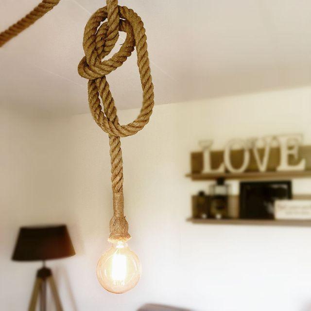 Creatieve persoonlijkheid Touw lichten + Zwart plafond plaat vintage restaurant lamp eetkamer lampen henneptouw licht