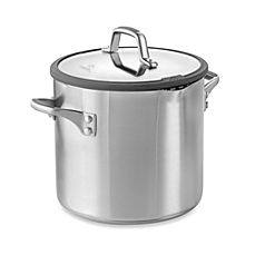 image of Simply Calphalon® Easy System™ Stainless Steel 8-Quart Covered Stockpot