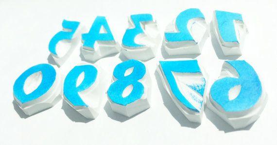 Number stamp set, number hand carved stamps, stationary rubber stamp, handmade stamp, card making supplies